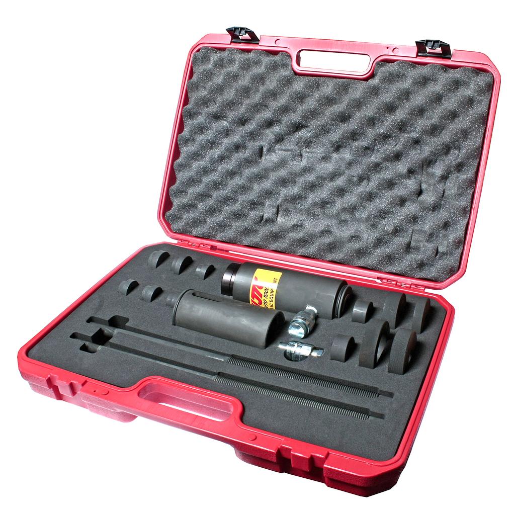 Набор инструментов для демонтажа/монтажа шплинтов гидравлический 15т 15 предметов (SCANIA VOLVO) JTC