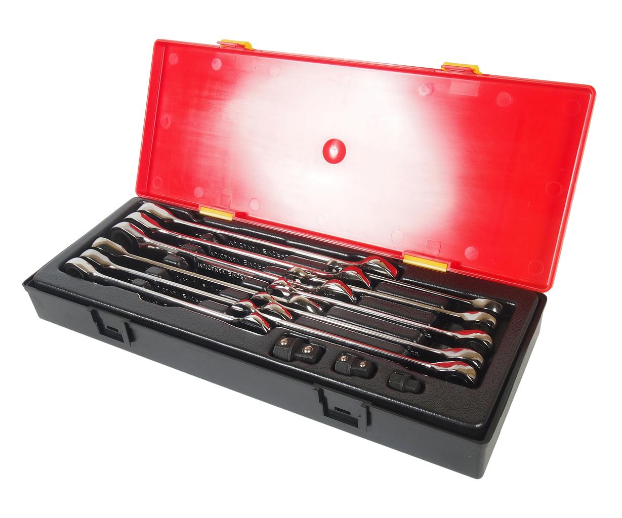 Набор ключей рожково-накидных трещоточных 14 предметов в кейсе JTC