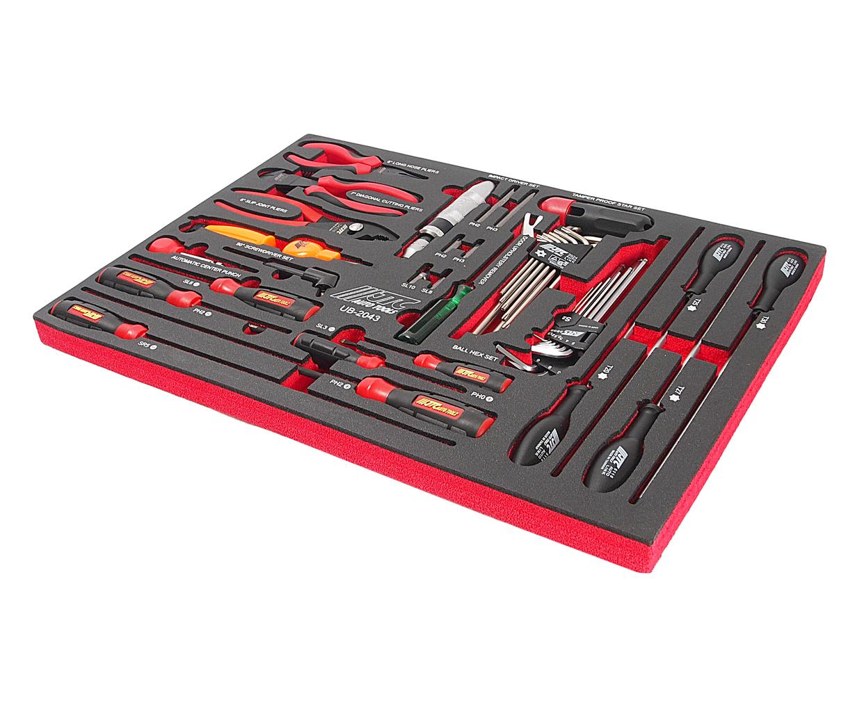 Набор инструментов 43 предмета слесарно-монтажный в ложементе JTC